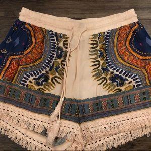 Boho fringe high waist shorts